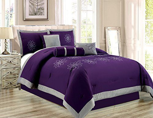 7 Piece Oversize Purple Grey Embroidered Luxury Comforter Set King Size Bedding 104X94 >>> You can find out more details at the link of the image.