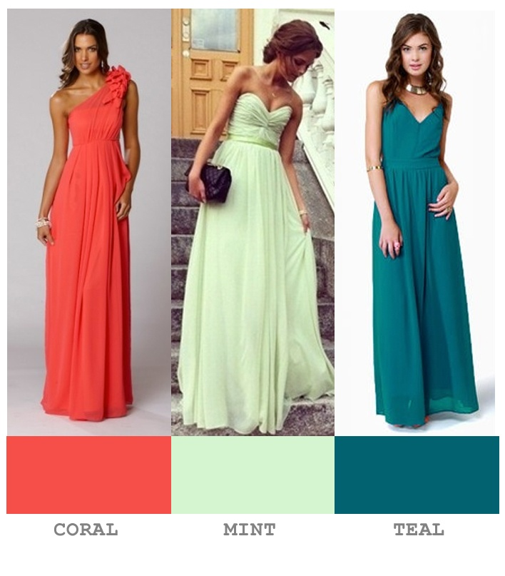 My wedding color palette coral mint teal long dresses for Mint color wedding dress