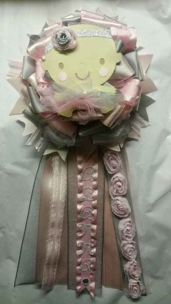 Mommy to Be Corsage Ballerina Pink gray tutu by fourDOLLYSboutique