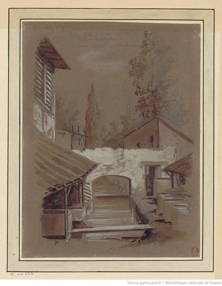 Cité Joly sur le pont de bois de la rue précédente. La Bièvre longe la rue de la Glacière : [dessin] / JA Chauvet [Jules-Antoine Chauvet]
