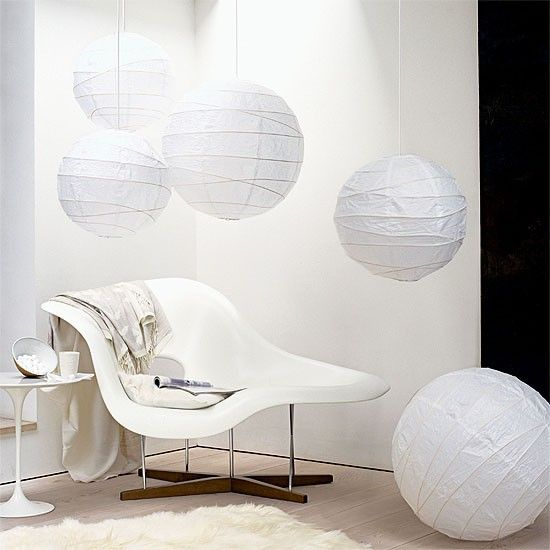 Living room with paper lanterns and contemporary chaise longue | housetohome.co.uk