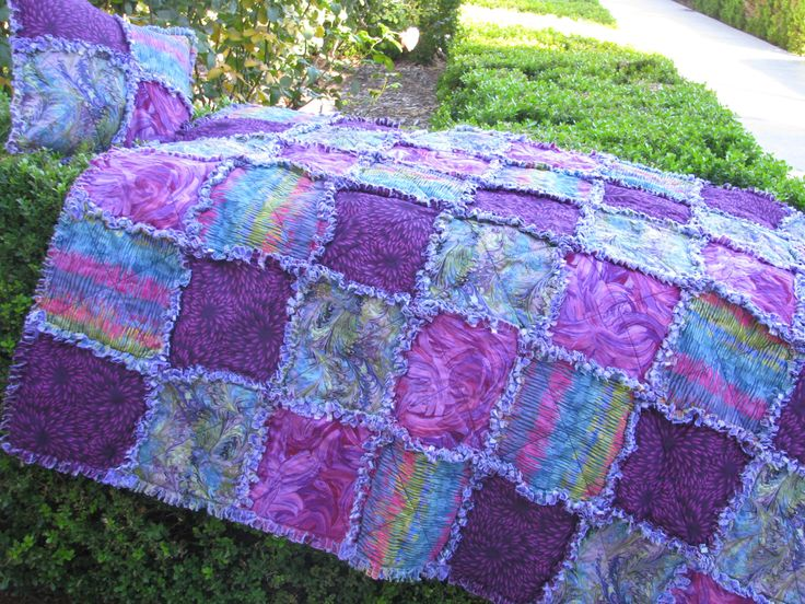 Rag Quilt, Purple Rain,  Lap Quilt & Pillow Set, Blanket Throw, Unique Gift,  Ready to Ship by BermudaStreetQuilts on Etsy