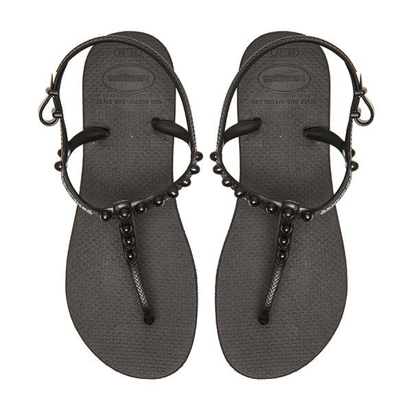 Havaianas Freedom Candy Flip Flop Shoes ($34) ❤ liked on Polyvore featuring shoes, sandals, flip flops, rubber sandals, havaianas shoes, havaianas, studded flip flops and havaianas sandals