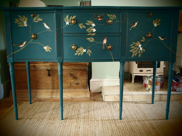 Shabby Chic Teal Painted Sideboard Decorated In Bird And