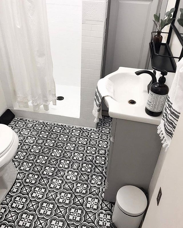 Painted Bathroom Floor Renovation Ideas On A Budget Using Easy To Use Tile Stencil Patterns From Cuttin Painted Bathroom Floors Bathroom Decor Floor Renovation