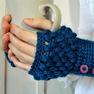 Crochet Puff Stitch Finger less Gloves - Crochet Creative Creations- Free Patterns and Instructions