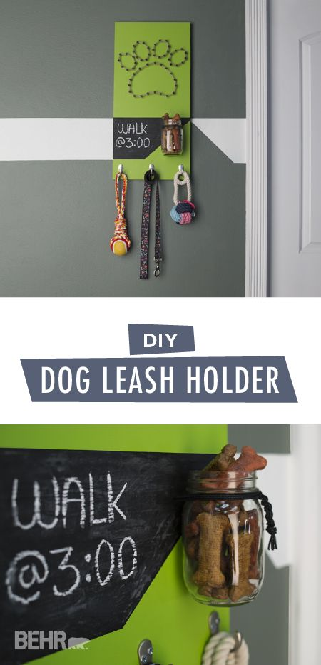 Even your pooch should have a stylish space in your home. Use this DIY dog leash holder from BEHR to create a colorful space where you can store any pet supplies that your furry friend needs. Use modern hues like Fresh Apples to add a pop of bright color to your home. Add wall hooks and an adorable mason jar for added storage potential. Click here for the full easy tutorial.