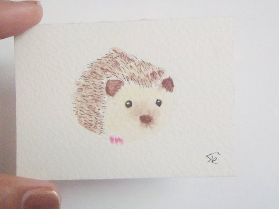 baby riccio carino e puccioso ATC ACEO acquarello e china da collezione OOAK marrone camera bambini ritratto animali bosco lasoffittadiste