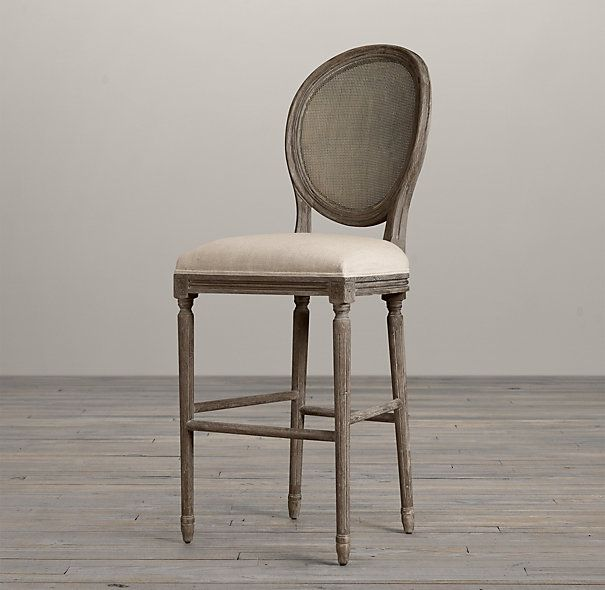 Vintage French Cane Back Round Upholstered Barstool Burnt Oak | Bar & Counter Stools | Restoration Hardware