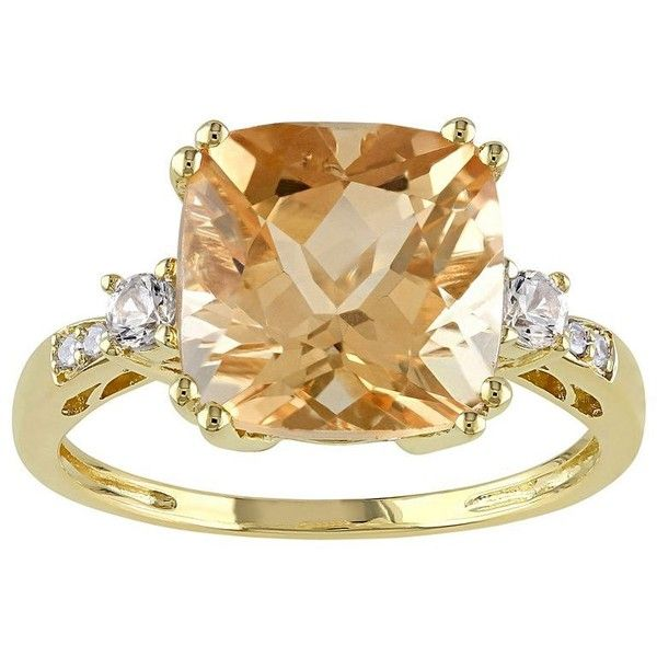 Citrine ($376) ❤ liked on Polyvore featuring jewelry, rings, yellow, round ring, cushion cut ring, yellow citrine ring, citrine rings and yellow jewelry