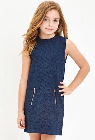 Geo-Patterned Matelassé Dress (Kids)   Forever 21 girls - 2000162625