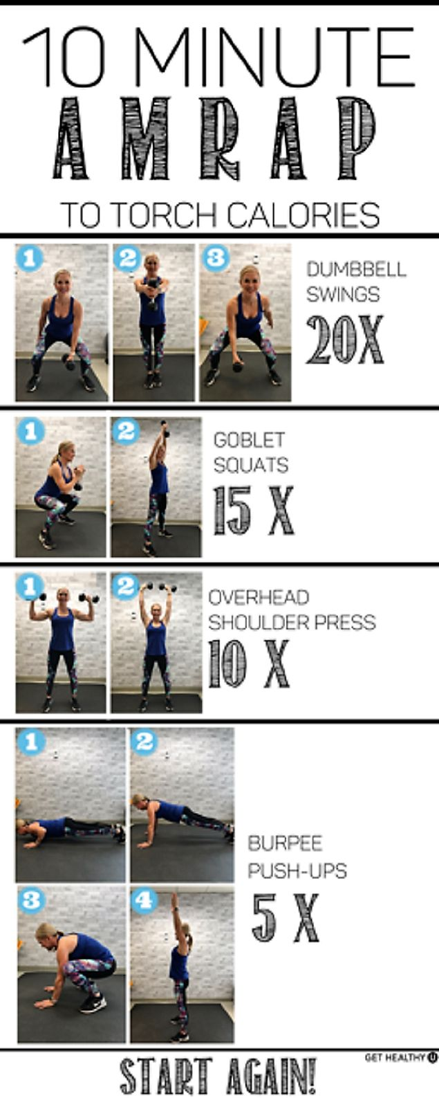 10-Minute AMRAP Workout To Torch Calories [exercise-by-exercise photo guide]