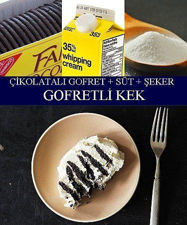 Çikolatalı Gofret, Süt, Şeker = Gofretli Kek