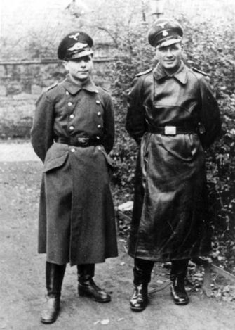 Treblinka, Poland, Kurt Franz (right) with his younger brother, a soldier in the Luftwaffe. From the private album of Kurt Franz from the time of his service as Deputy Commandant of Treblinka. The album was presented by the prosecution at Franz's trial in Dusseldorf during the years 1964-5.
