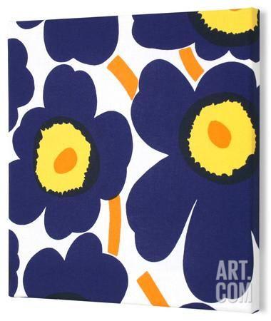 Marimekko® Unikko Fabric Panel - Indigo/Yel Pieni 15x15 Stretched Fabric Panel at Art.com
