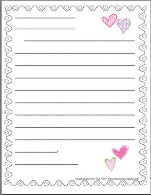 valentine's friendly letter stationery