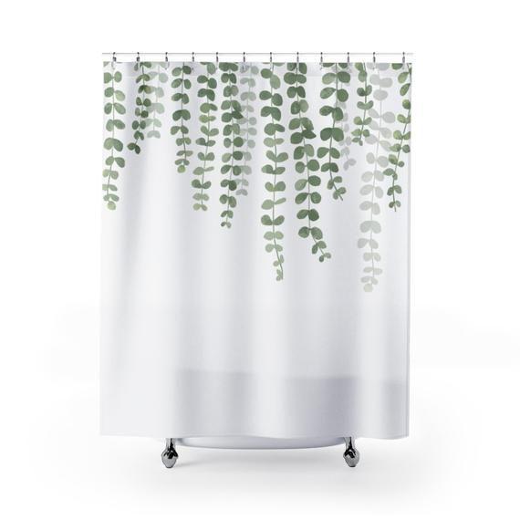 Eucalyptus Hanging Vine Curtain Green Vines Housewares Bathroom