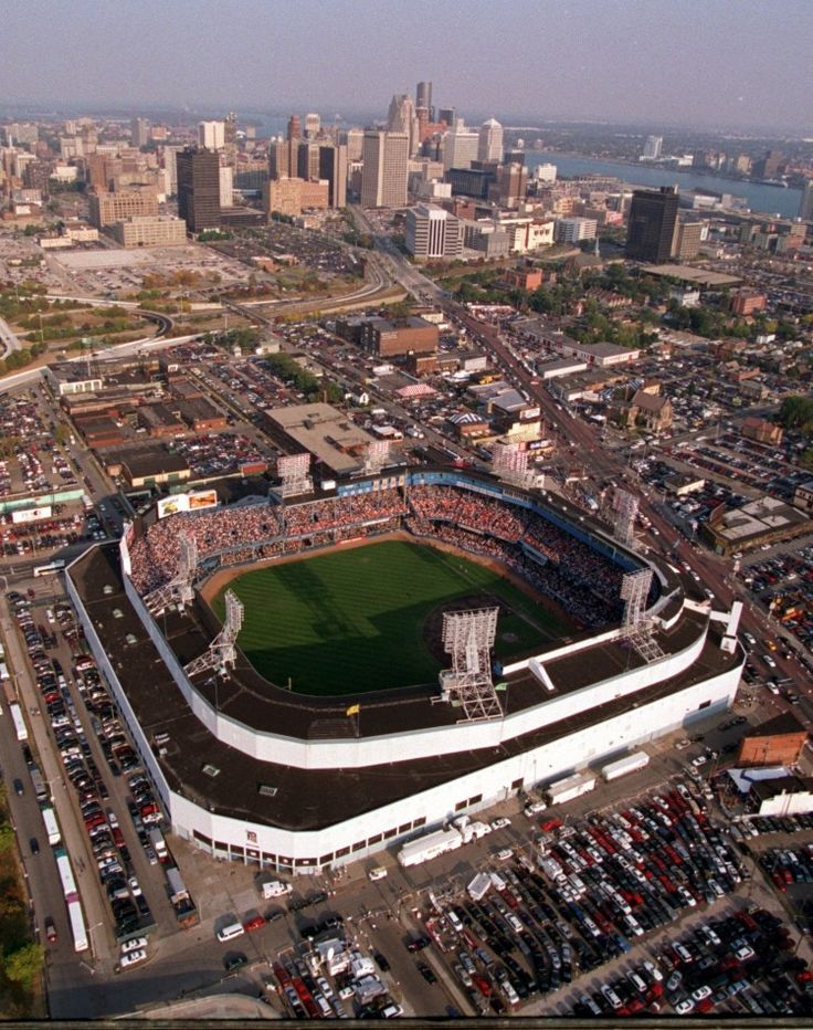 Aerial view of the former Tiger Stadium with the downtown skyline in the distance, Detroit, MI