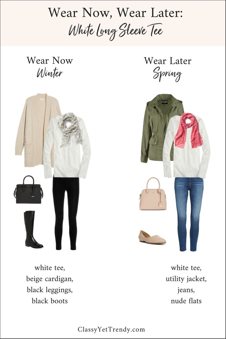 Wear Now, Wear Later: White Long Sleeve Tee - A long sleeve tee is a great transition piece to have in your wardrobe. It can be worn in the Winter with leggings and a cardigan, then in Spring with a utility jacket and jeans. See two outfits that will take you from Winter to Spring.