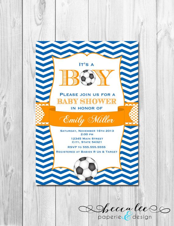 Soccer Baby Shower Invitation Chevron Stripes by BeccaLeePaperie, $14.00