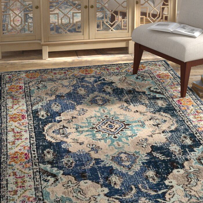 Bungalow Rose Annabel Navy Light Blue Area Rug Reviews Wayfair Brown And Blue Living Room Blue Area Rugs Area Rugs