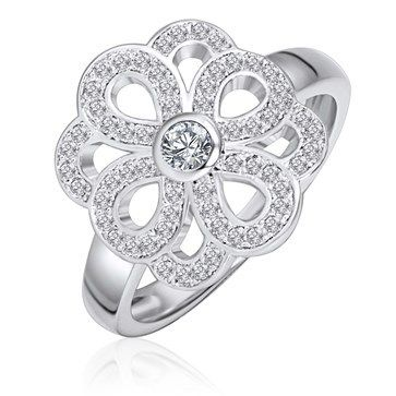 RING KAGI SILVER ETERNITY STERLING SILVER RHODIUM PLATED CELTIC FLORAL KNOT WHITE CUBIC ZIRCONIA SET SMALL - Jons Family Jewellers