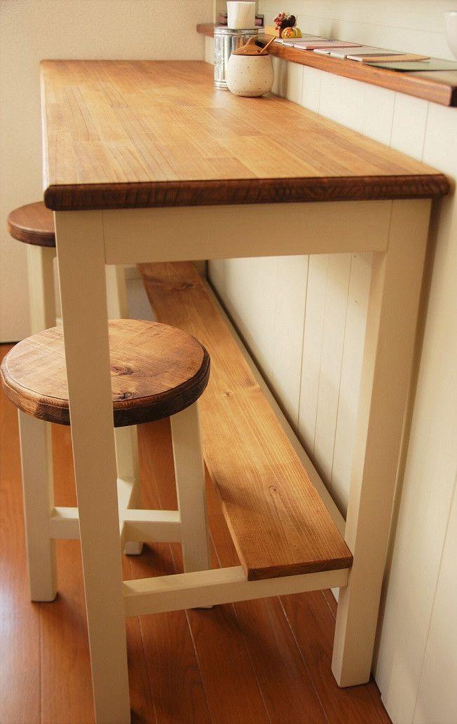 「樹と葉っぱさん」カウンターテーブルとスツール -7 納品! | インドメイドクラフト 木工 craft Jun