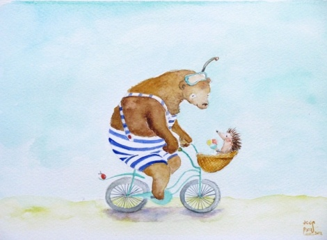 hedgehog & bear cycling to the beach by Ucuspucus