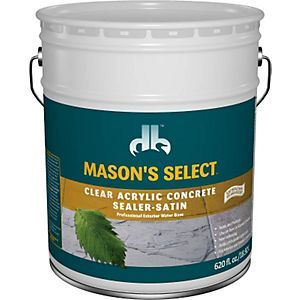 """Concrete sealer interior/exterior water based - acrylic""""mason's select"""" clear satin 5 gallon Provides a clear protective coating to concrete and masonry surfaces. Durable, non-yellowing and will not crack or peel. Seals moisture out, inhibits mildew. Provides resistance to hot tire pick-up, UV rays, gasoline, oils and other chemicals. Depending o n porosity of surface, covers 150 to 250 sq. ft. per gallon on first coat and 250 to 350 sq. ft. per gallon on second coat."""