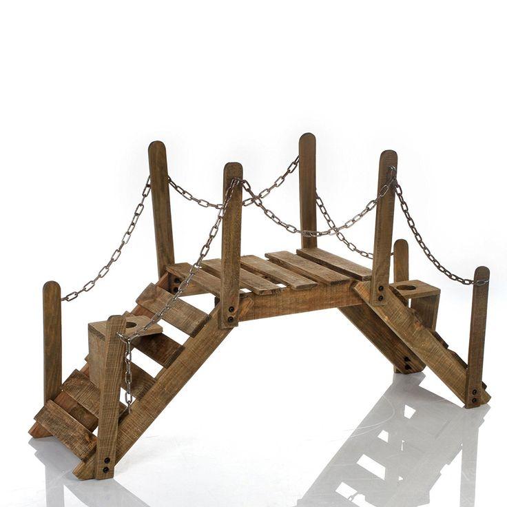 Puente soporte de plantas decorativo ¡Jardinera de madera y hierro forjado para el jardín, la terraza o interiores!