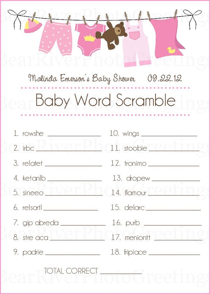 Baby Shower Game Cards Baby Word Scramble Set By Photogreetings Baby Shower  Word Scramble 750x1050