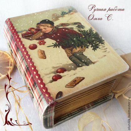 """Купить Шкатулка-книга """"Рождественские подарочки"""" - шкатулка, шкатулка для украшений, шкатулка для мелочей"""