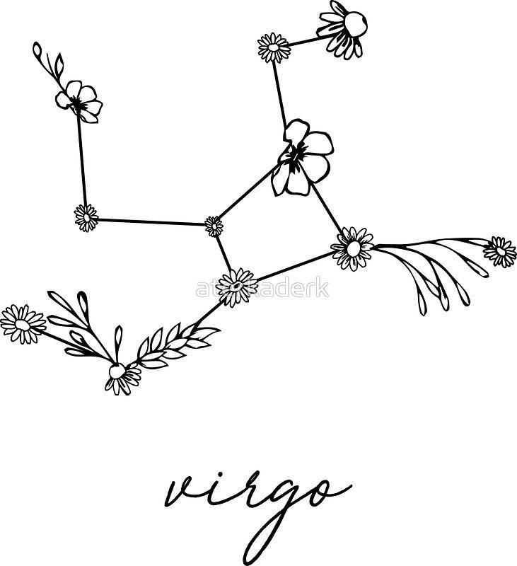 Sternbild Jungfrau Sternzeichen Wildblume | Aufkleber