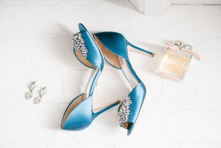 Elegant Country Club Wedding - Bridal accessories with Blue shoes