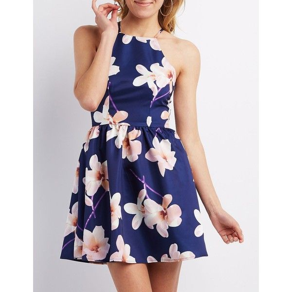 Charlotte Russe Strappy Floral Print Skater Dress ($29) ❤ liked on Polyvore  featuring dresses