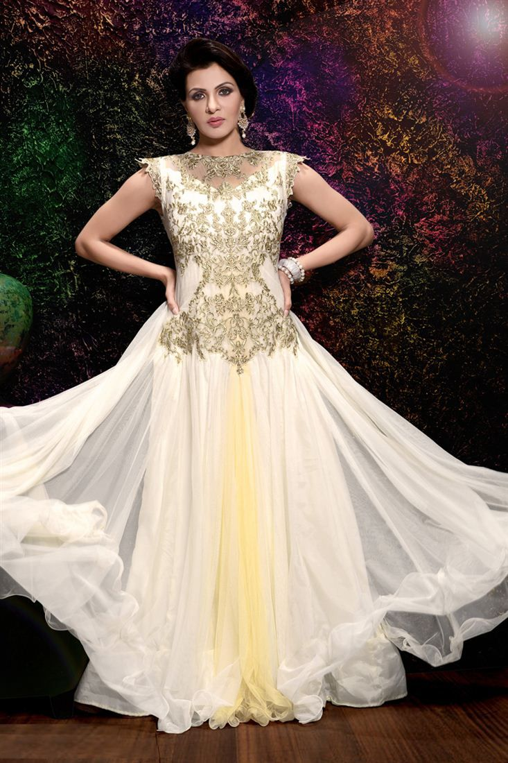 cca7e81b73ad Charming Off White Color Embroidered  EveningDress -  34