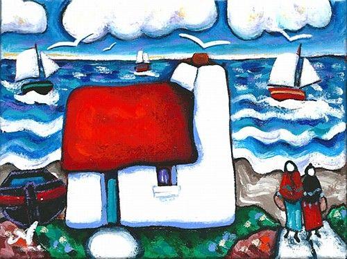 "Annie Robinson ""Summer Clouds"" #art #painting #clouds #sea #sailing #birds #DukeStreetGallery"