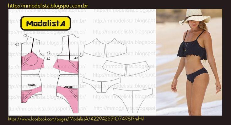 flappy long ruffle bikini top suit ModelistA: TOP CAMISETA