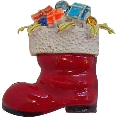 Fun Red Enameled Santa's Boot Filled with Presents Pin Signed ART  Circa 1960's.  Jewelry under $25 at Ruby Lane @Ruby Lane
