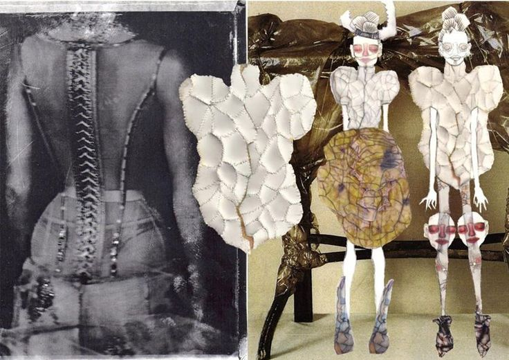 Fashion Sketchbook with stylised fashion drawings and experimentation with stitched surface structure for fashion design - fashion portfolio