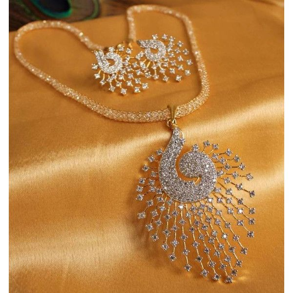 Indian Pakistani 1 gram gold CZ Peacock pendant chain necklace set... ($36) ❤ liked on Polyvore featuring jewelry, yellow gold pendant, gold pendant, peacock pendant, gold jewelry and cubic zirconia jewelry