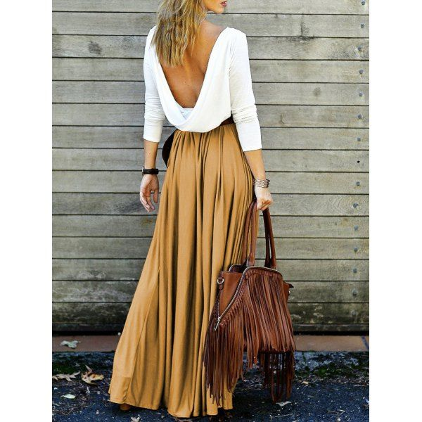 Long Sleeve Draped Open Back Maxi Dress Backless Fall, Spring White/Beige