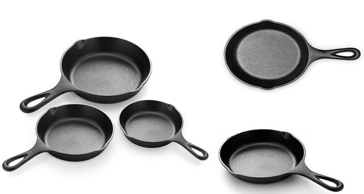 Cast Iron Skillet Set Kitchen Frying Pans Pre Seasoned Heavy Duty Cookware 3 Pc #CastIronSkillet