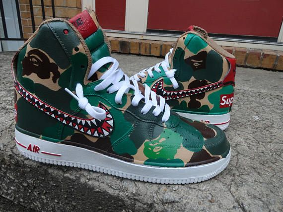 Custom made air force 1s. Done by @imperialstepcustomz