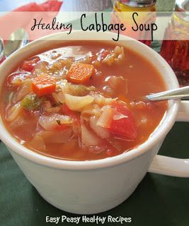 Healing Cabbage Soup--Super healthy and tasty!  EasyPeasyHealthyRecipes.com