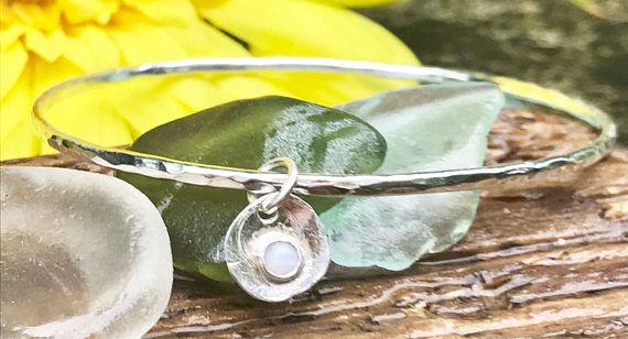 Birthstone Silver Bangle, Silver Hammered Jewellery With Opal Gemstone. Dainty Bangle, Skinny Silver Bracelet With Gemstone