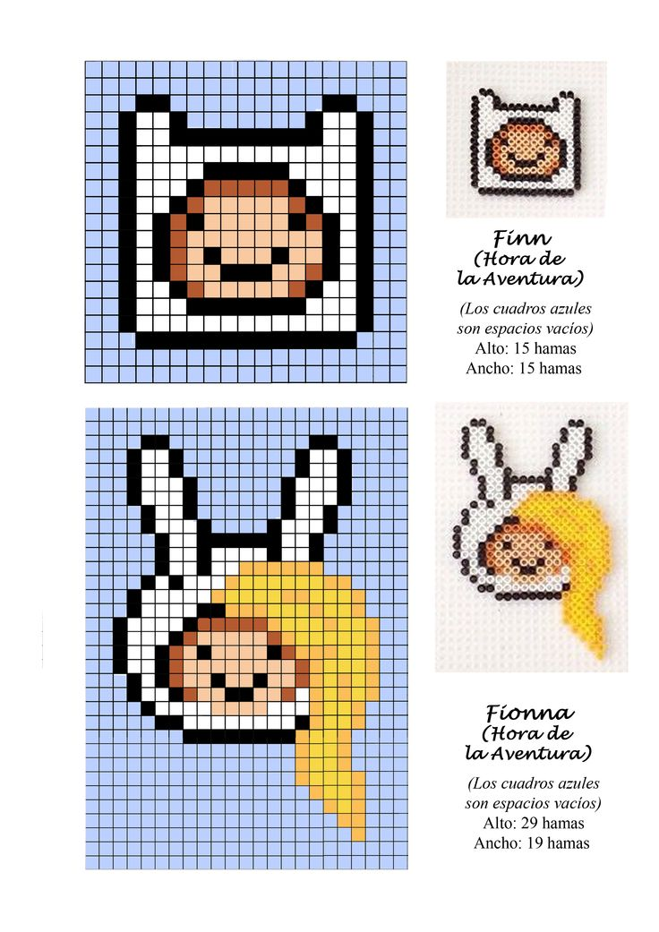 Finn and Fionna Adventure Time hama perler beads pattern