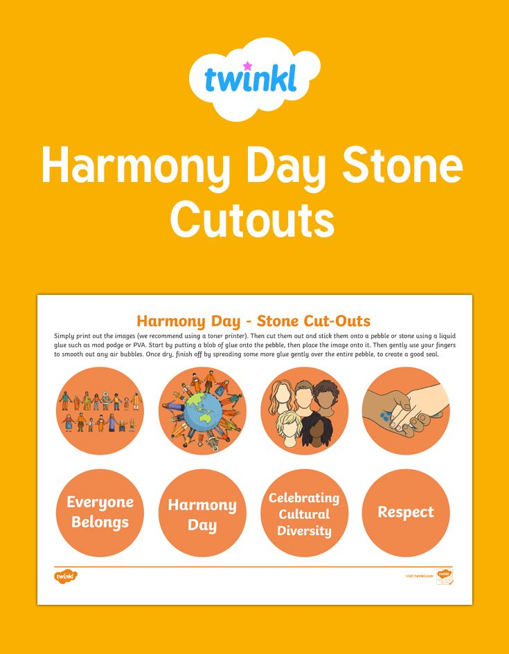 These wonderful images are perfect for cutting out and gluing onto stones for the children to explore and play with. Happy Harmony Day!