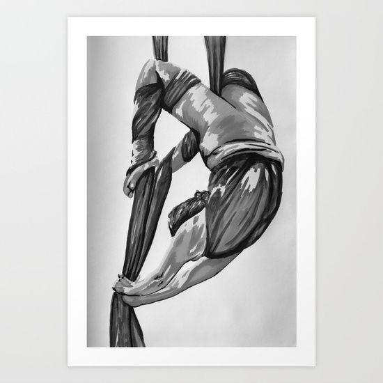 Greyscale bendy wendy Art Print