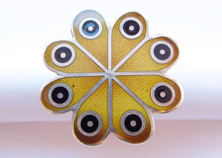 Rare De Passille-Sylvestre flower power enameled ring. .925 silver. 1/3